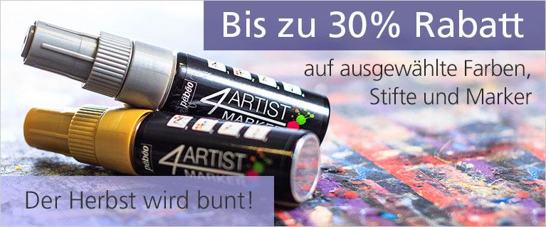 Starke Farben - Starke Angebote. Bis zu 30% Rabatt auf ausgewählte Farben, Stifte & Marker