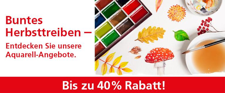 Buntes Herbsttreiben - Entdecken Sie unsere Aquarell-Angebote. Bis zu 40% Rabatt!